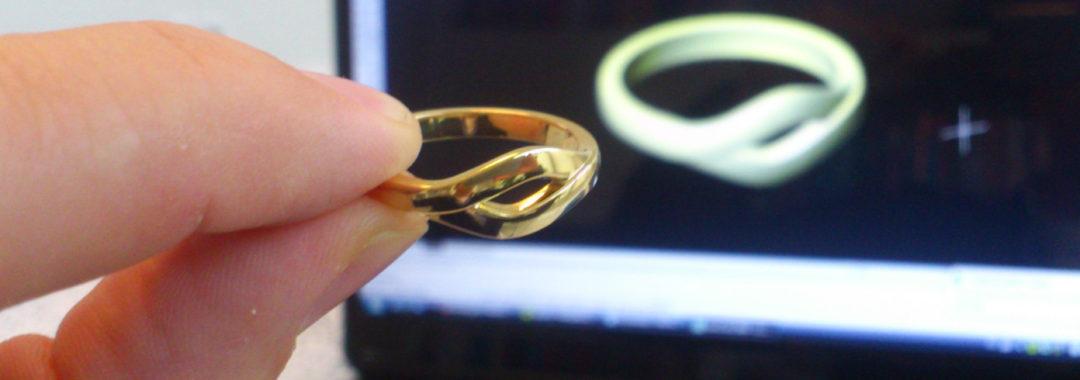 18 karaats ring 3D geprint